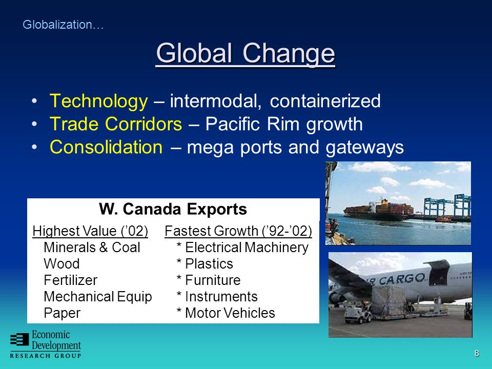 8 Global Change Technology – intermodal, containerized Trade Corridors – Pacific Rim growth Consolidation – mega ports and gateways Globalization… Highest Value ('02) Minerals & Coal Wood Fertilizer Mechanical Equip Paper Fastest Growth ('92-'02) * Electrical Machinery * Plastics * Furniture * Instruments * Motor Vehicles W.