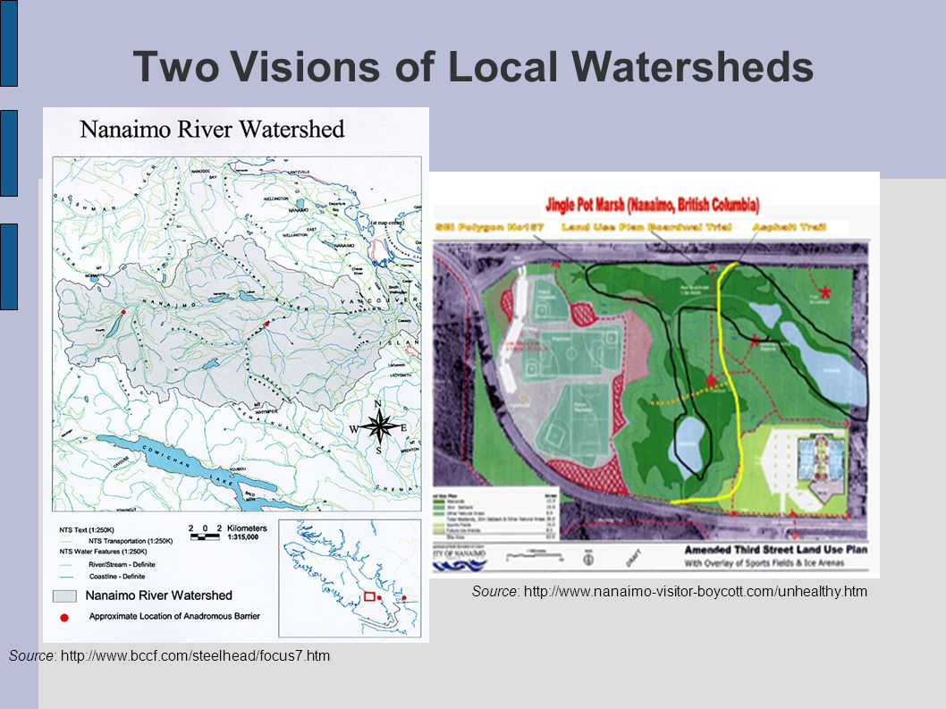 Two Visions of Local Watersheds Source: http://www.bccf.com/steelhead/focus7.htm Source: http://www.nanaimo-visitor-boycott.com/unhealthy.htm
