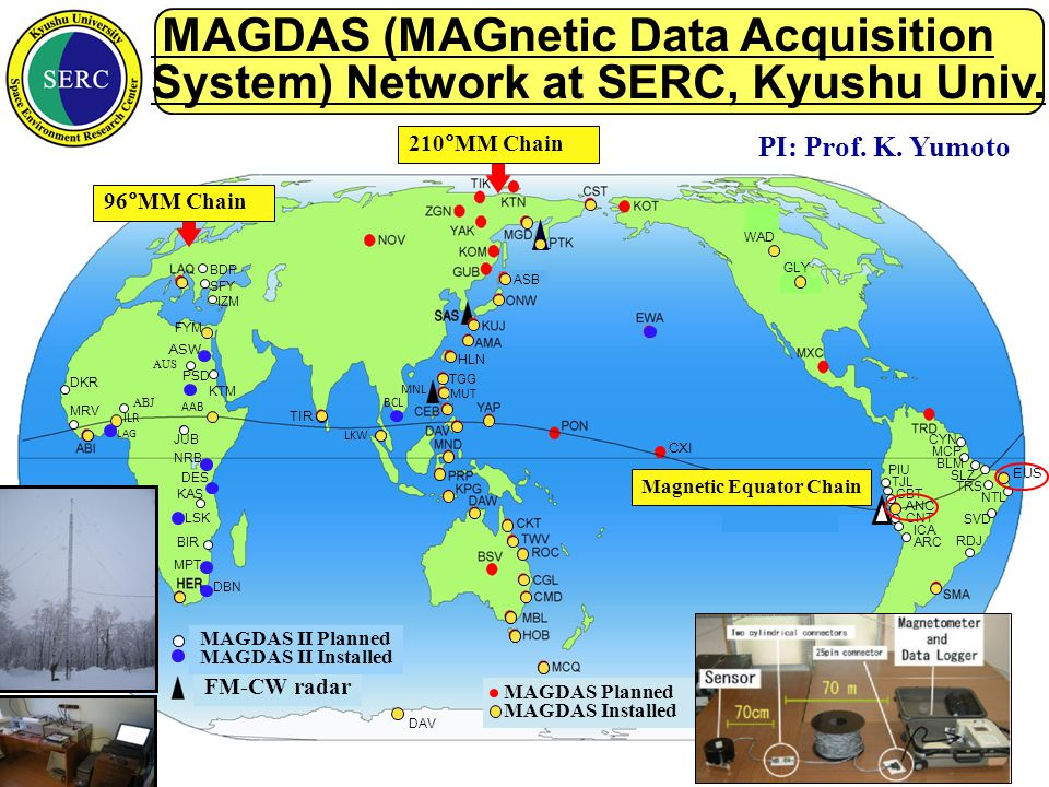 MAGDAS (MAGnetic Data Acquisition System) Network at SERC, Kyushu Univ.