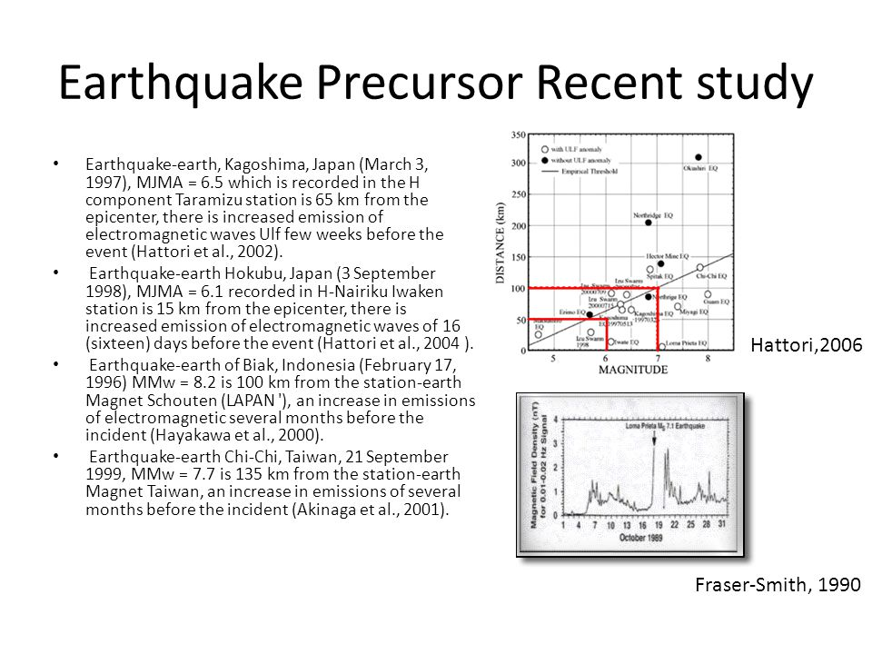 Earthquake Precursor Recent study Earthquake-earth, Kagoshima, Japan (March 3, 1997), MJMA = 6.5 which is recorded in the H component Taramizu station is 65 km from the epicenter, there is increased emission of electromagnetic waves Ulf few weeks before the event (Hattori et al., 2002).