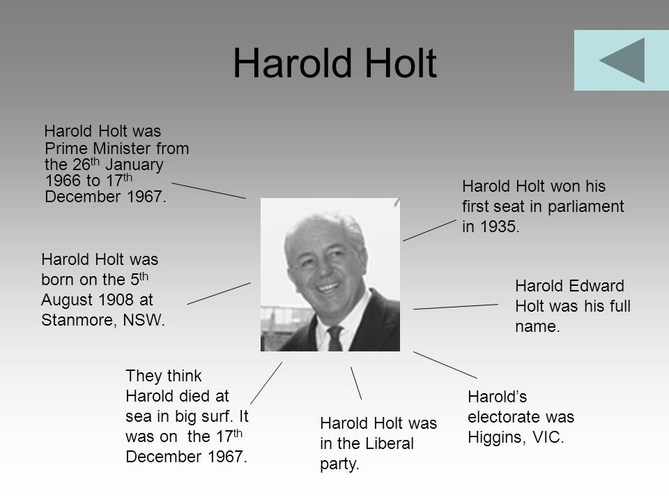Harold Holt Harold Holt was Prime Minister from the 26 th January 1966 to 17 th December 1967. Harold Holt won his first seat in parliament in 1935. H