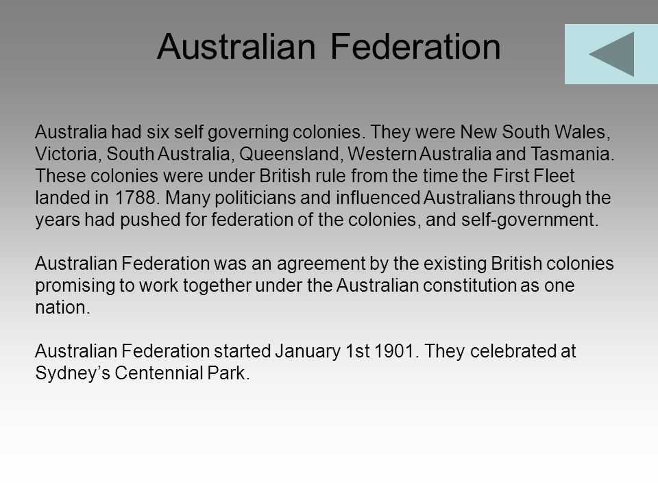 Australian Federation Australia had six self governing colonies. They were New South Wales, Victoria, South Australia, Queensland, Western Australia a