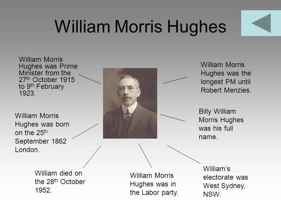 William Morris Hughes William Morris Hughes was Prime Minister from the 27 th October 1915 to 9 th February 1923. William Morris Hughes was the longes