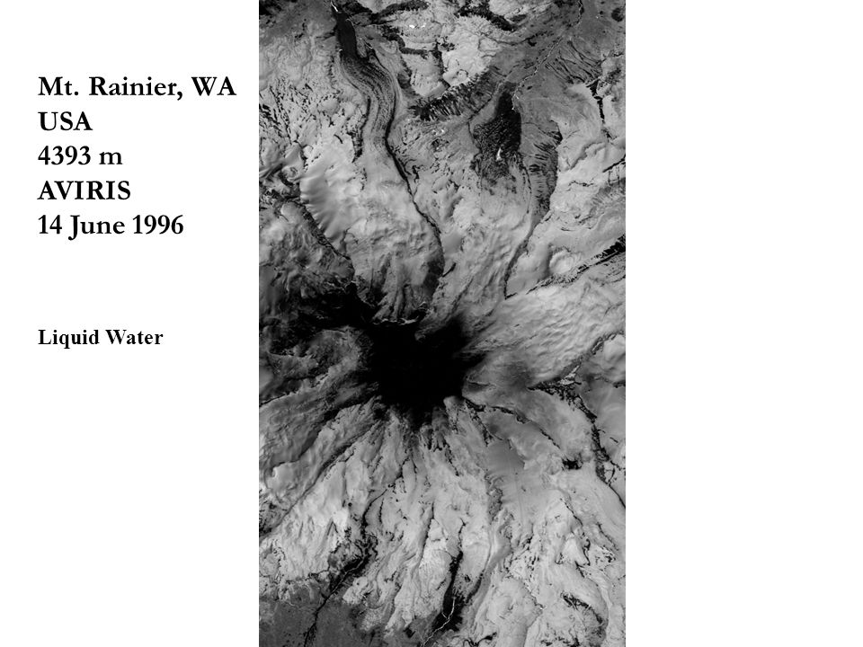 8 th CLP Workshop, Boulder, CO Mt. Rainier, WA USA 4393 m AVIRIS 14 June 1996 Liquid Water