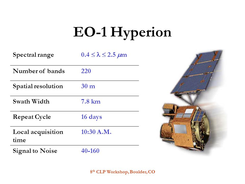 8 th CLP Workshop, Boulder, CO EO-1 Hyperion Spectral range 0.4   2.5  m Number of bands220 Spatial resolution30 m Swath Width7.8 km Repeat Cycle16 days Local acquisition time 10:30 A.M.