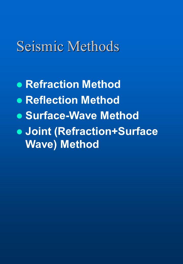 Seismic Methods Refraction Method Reflection Method Surface-Wave Method Joint (Refraction+Surface Wave) Method