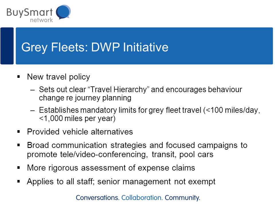 "Grey Fleets: DWP Initiative  New travel policy –Sets out clear ""Travel Hierarchy"" and encourages behaviour change re journey planning –Establishes ma"