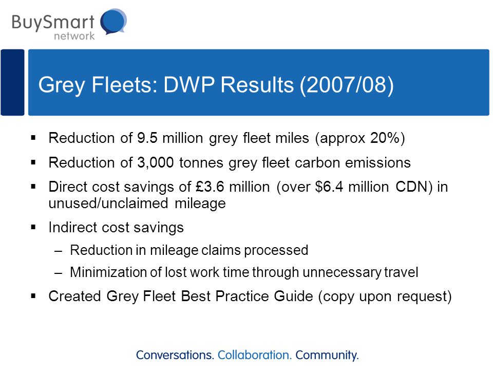 Grey Fleets: DWP Results (2007/08)  Reduction of 9.5 million grey fleet miles (approx 20%)  Reduction of 3,000 tonnes grey fleet carbon emissions 