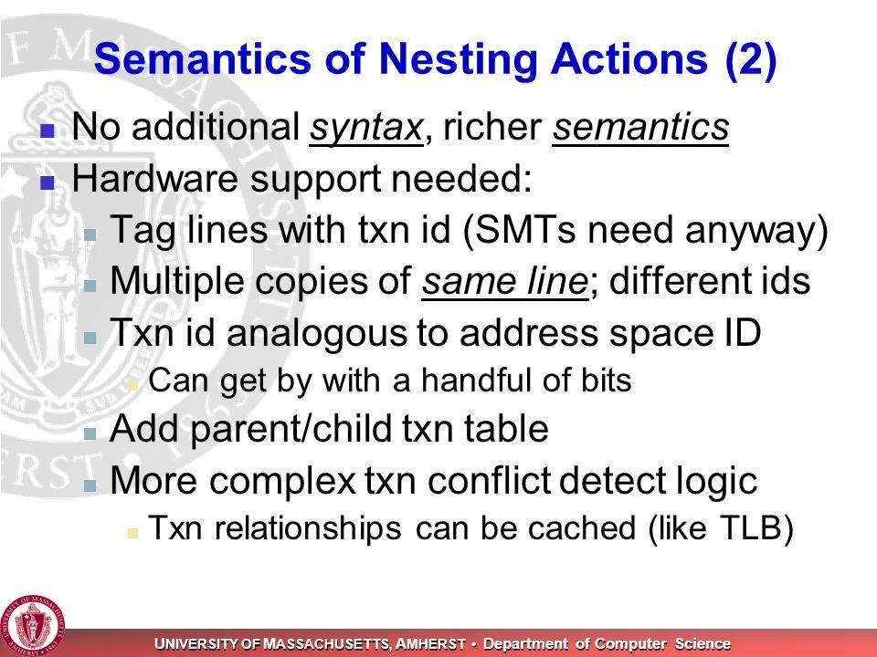 U NIVERSITY OF M ASSACHUSETTS, A MHERST Department of Computer Science Semantics of Nesting Actions (2) No additional syntax, richer semantics Hardwar