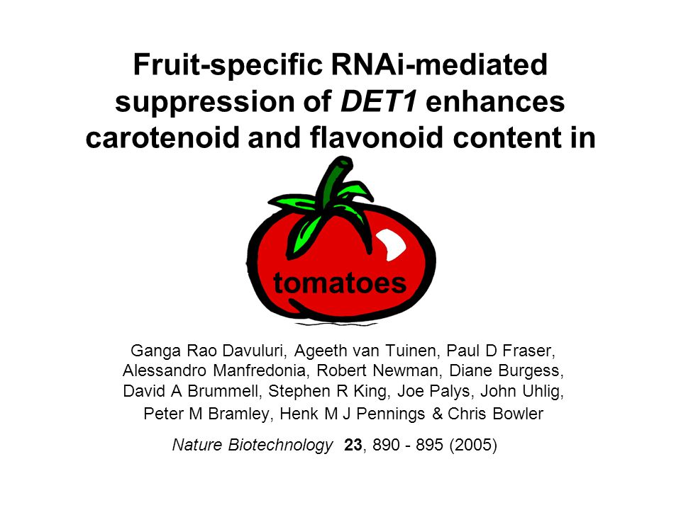 Fruit-specific RNAi-mediated suppression of DET1 enhances carotenoid and flavonoid content in tomatoes Ganga Rao Davuluri, Ageeth van Tuinen, Paul D F
