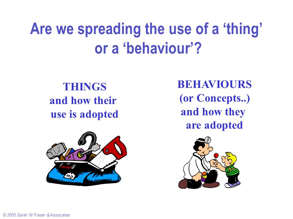 © 2005 Sarah W Fraser & Associates Are we spreading the use of a 'thing' or a 'behaviour'.
