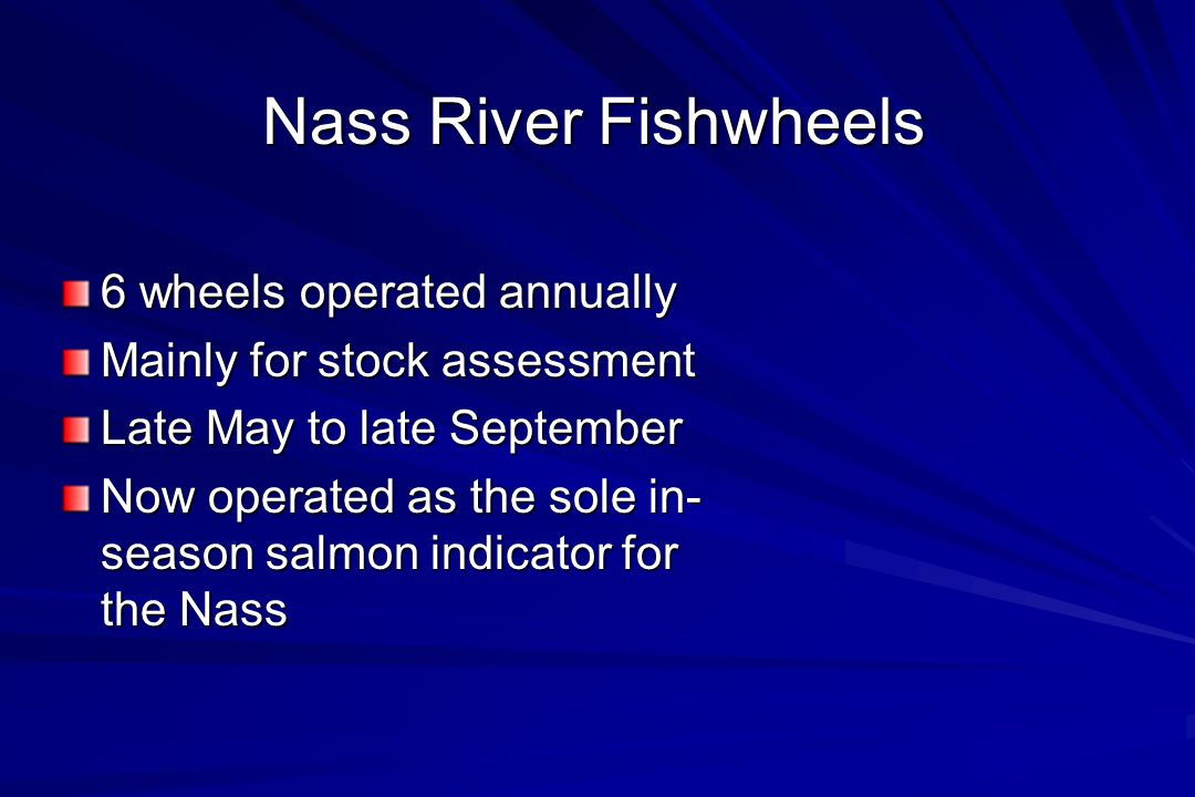 Nass River Fishwheels 6 wheels operated annually Mainly for stock assessment Late May to late September Now operated as the sole in- season salmon indicator for the Nass