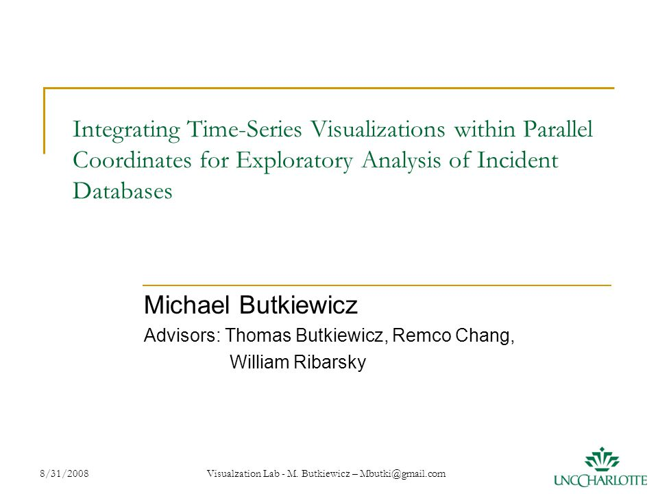8/31/2008 Visualzation Lab - M. Butkiewicz – Mbutki@gmail.com 1 Integrating Time-Series Visualizations within Parallel Coordinates for Exploratory Ana