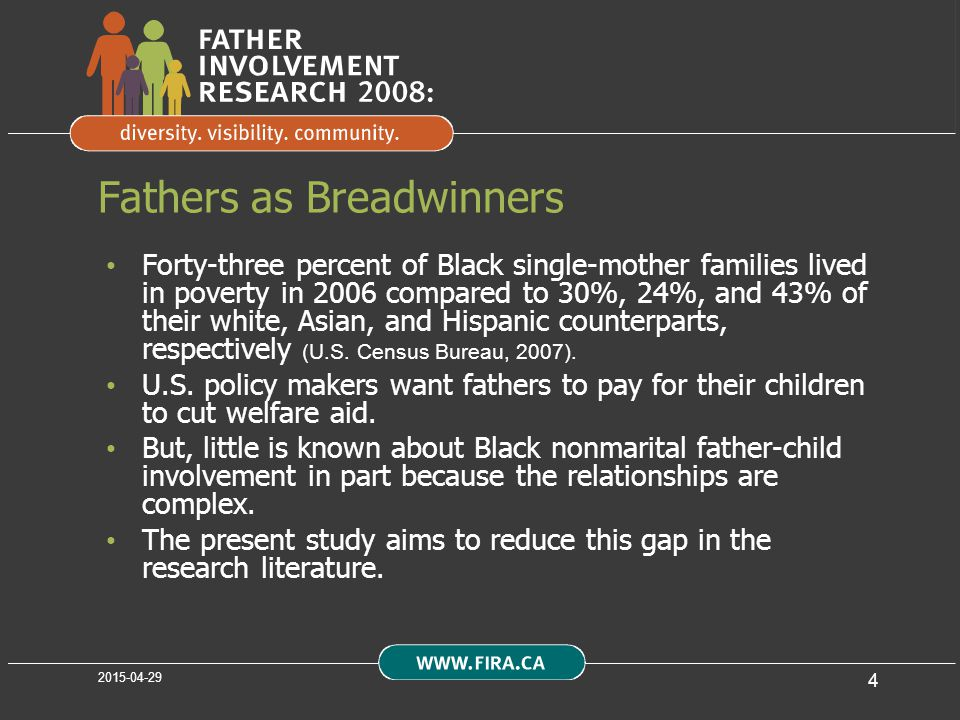 4 Fathers as Breadwinners Forty-three percent of Black single-mother families lived in poverty in 2006 compared to 30%, 24%, and 43% of their white, Asian, and Hispanic counterparts, respectively (U.S.