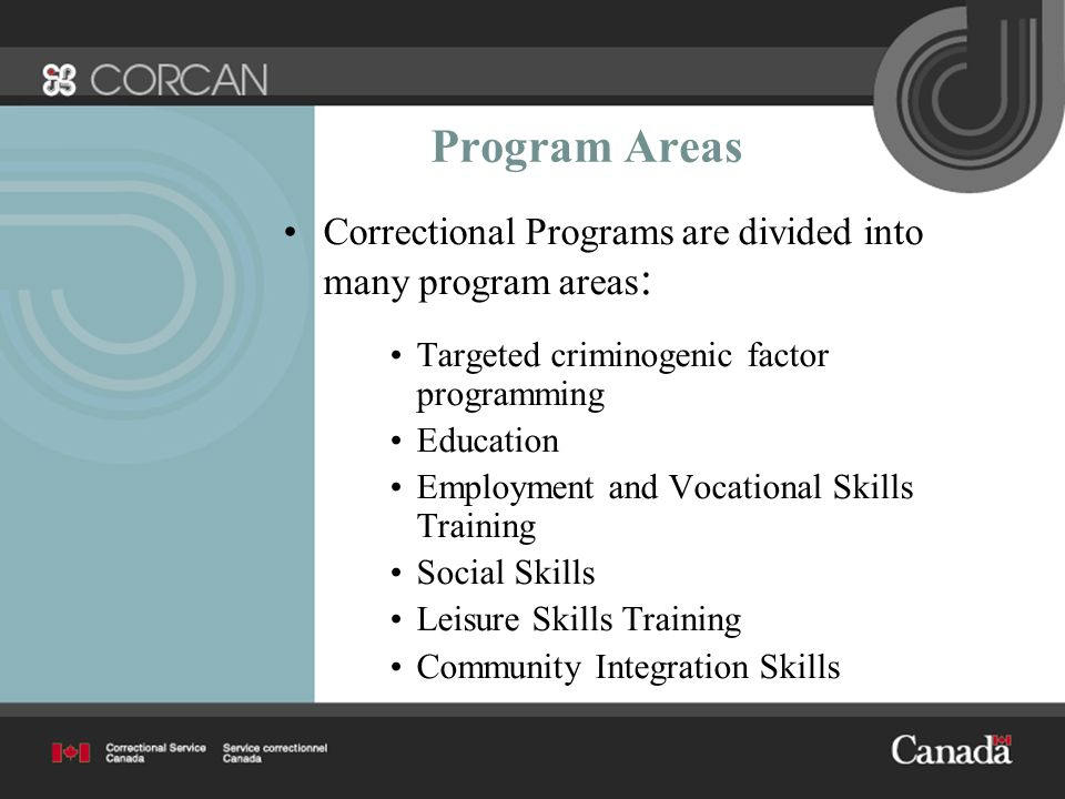 Program Areas Correctional Programs are divided into many program areas : Targeted criminogenic factor programming Education Employment and Vocational Skills Training Social Skills Leisure Skills Training Community Integration Skills