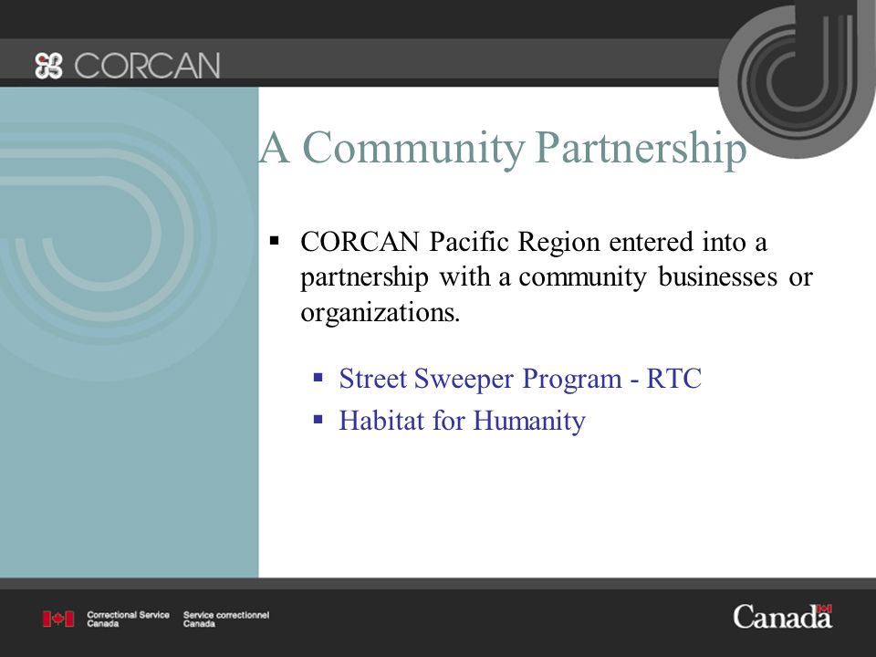 A Community Partnership  CORCAN Pacific Region entered into a partnership with a community businesses or organizations.