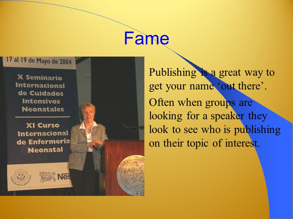 Fame Publishing is a great way to get your name 'out there'.