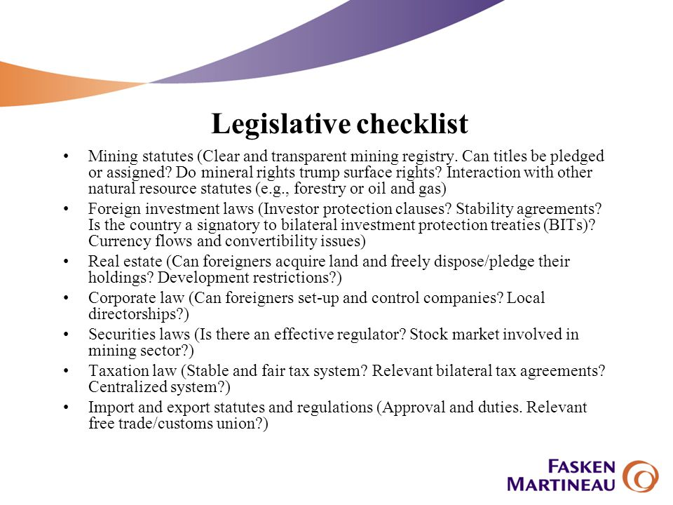 Legislative checklist Mining statutes (Clear and transparent mining registry.