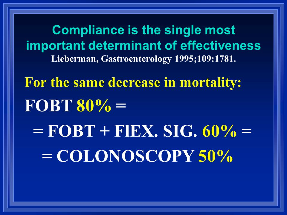 Compliance is the single most important determinant of effectiveness Lieberman, Gastroenterology 1995;109:1781.