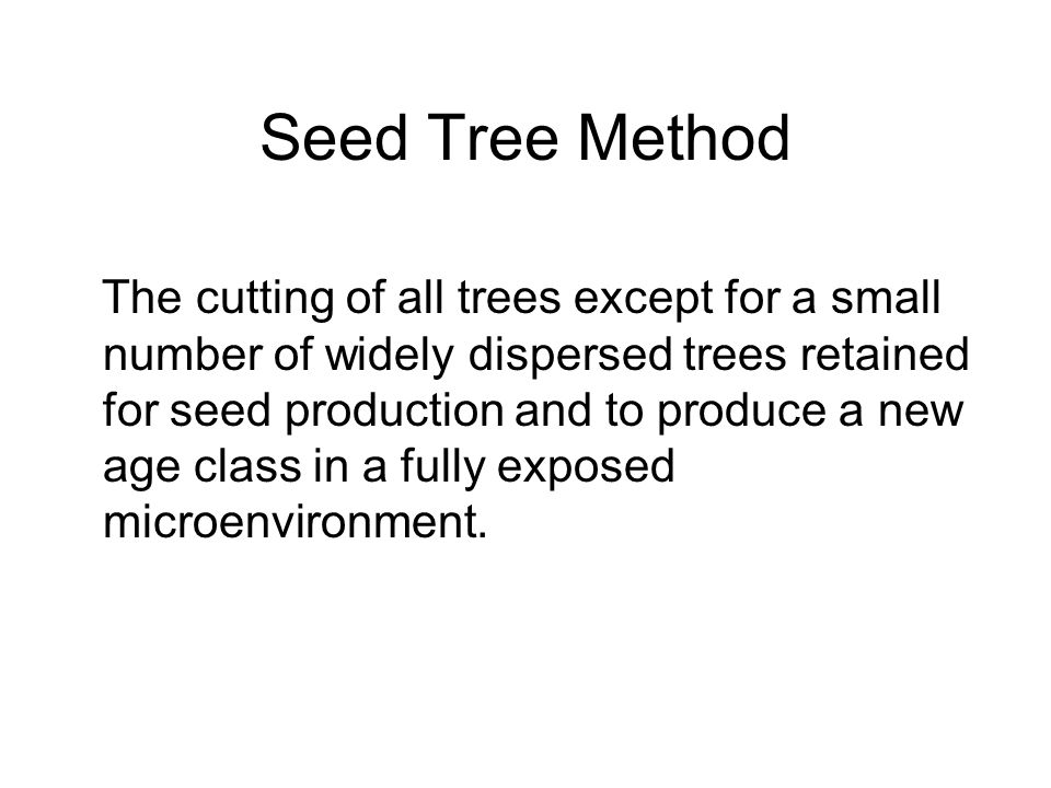 Seed Tree Method The cutting of all trees except for a small number of widely dispersed trees retained for seed production and to produce a new age class in a fully exposed microenvironment.