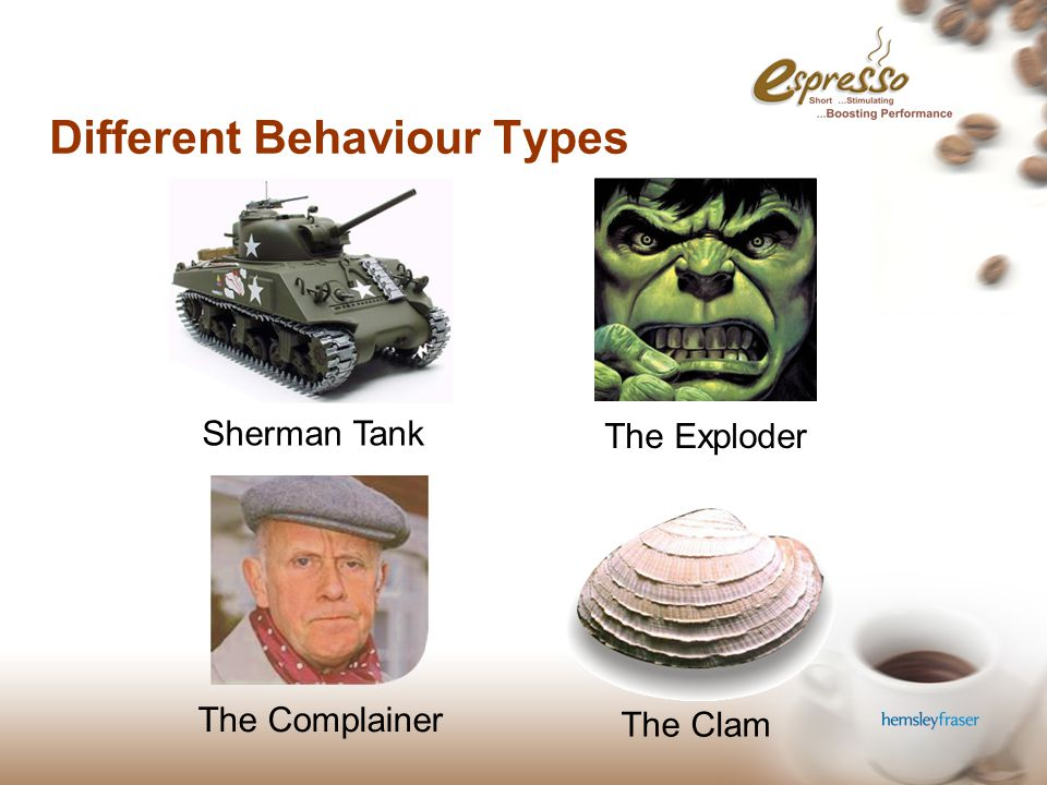 Different Behaviour Types Sherman Tank The Exploder The Complainer The Clam