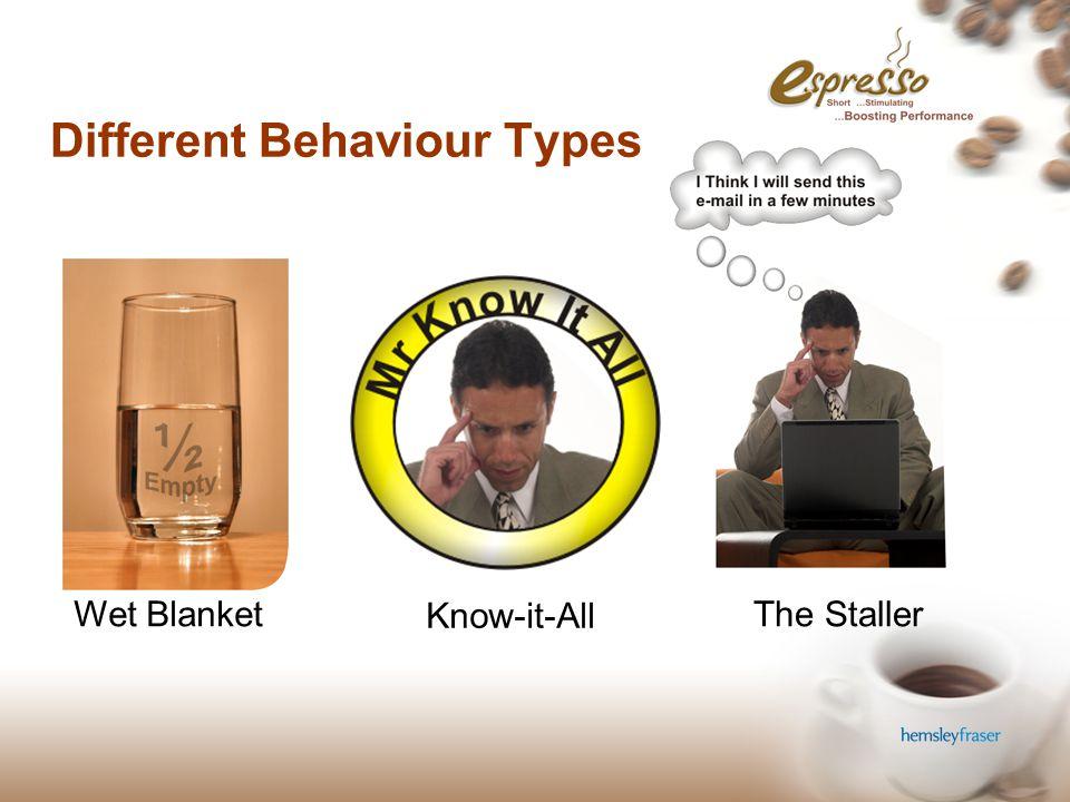 © Hemsley Fraser Group Ltd 2006 Different Behaviour Types Wet Blanket Know-it-All The Staller
