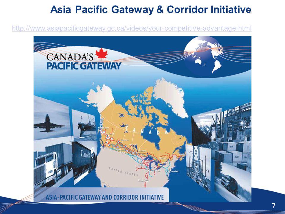 7 Asia Pacific Gateway & Corridor Initiative http://www.asiapacificgateway.gc.ca/videos/your-competitive-advantage.html
