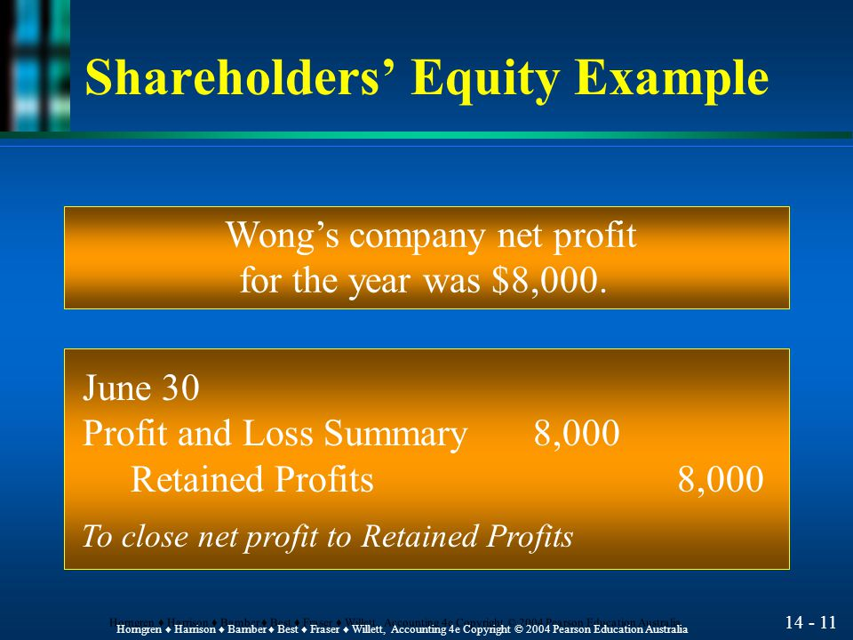 14 - 10 Horngren ♦ Harrison ♦ Bamber ♦ Best ♦ Fraser ♦ Willett, Accounting 4e Copyright © 2004 Pearson Education Australia Shareholders' Equity Example On June 1, the Wong's company issued share valued at $10,000.
