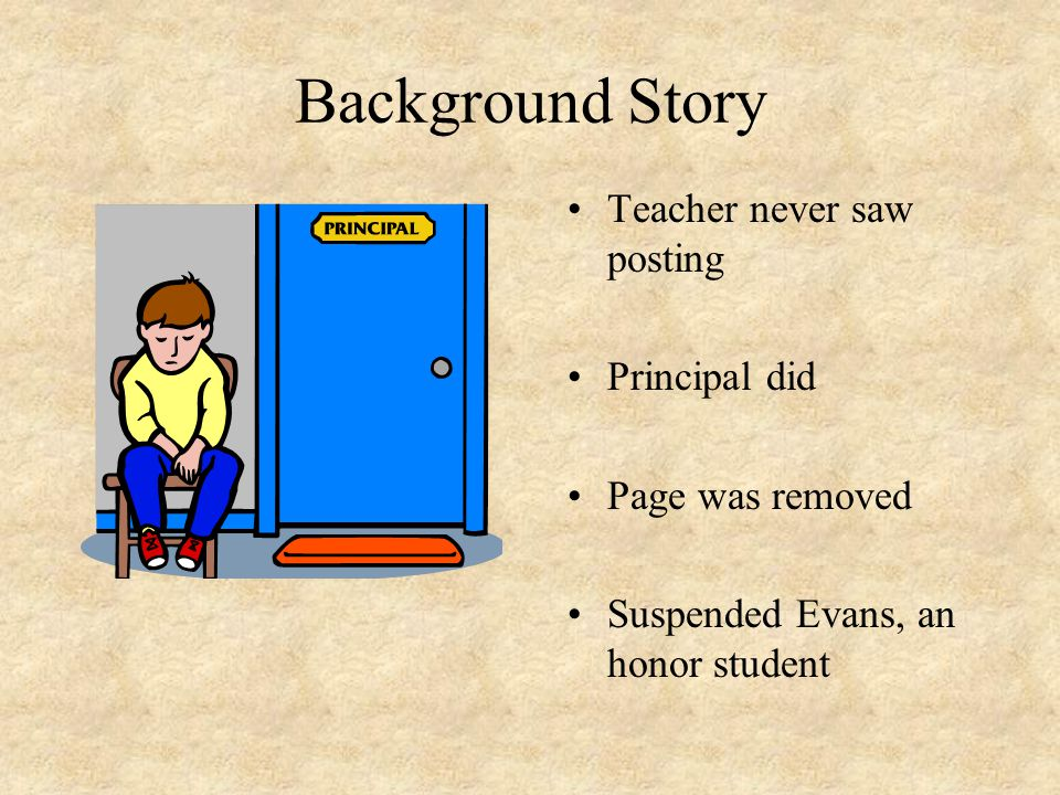 Background Story Teacher never saw posting Principal did Page was removed Suspended Evans, an honor student
