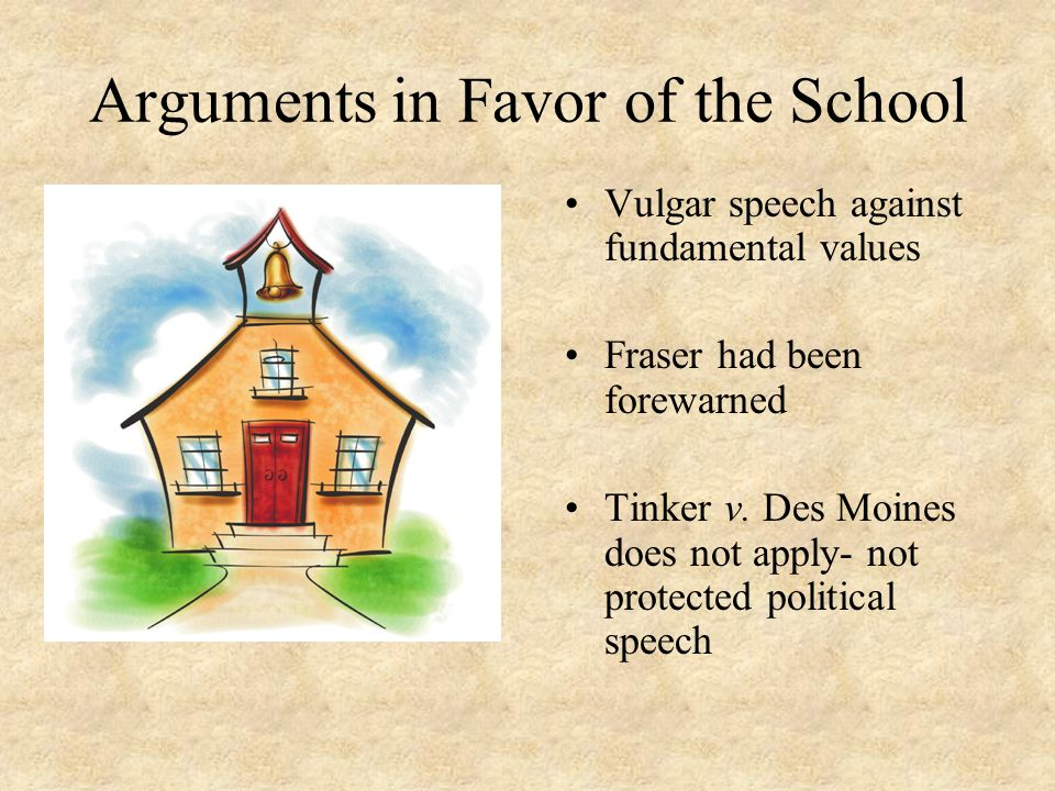 Arguments in Favor of the School Vulgar speech against fundamental values Fraser had been forewarned Tinker v. Des Moines does not apply- not protecte