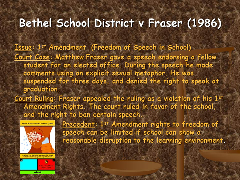 Bethel School District v Fraser (1986) Issue: 1 st Amendment (Freedom of Speech in School) Court Case: Matthew Fraser gave a speech endorsing a fellow student for an elected office.