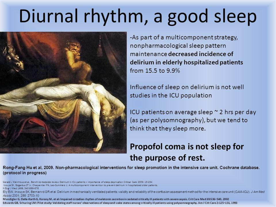 Diurnal rhythm, a good sleep -As part of a multicomponent strategy, nonpharmacological sleep pattern maintenance decreased incidence of delirium in el
