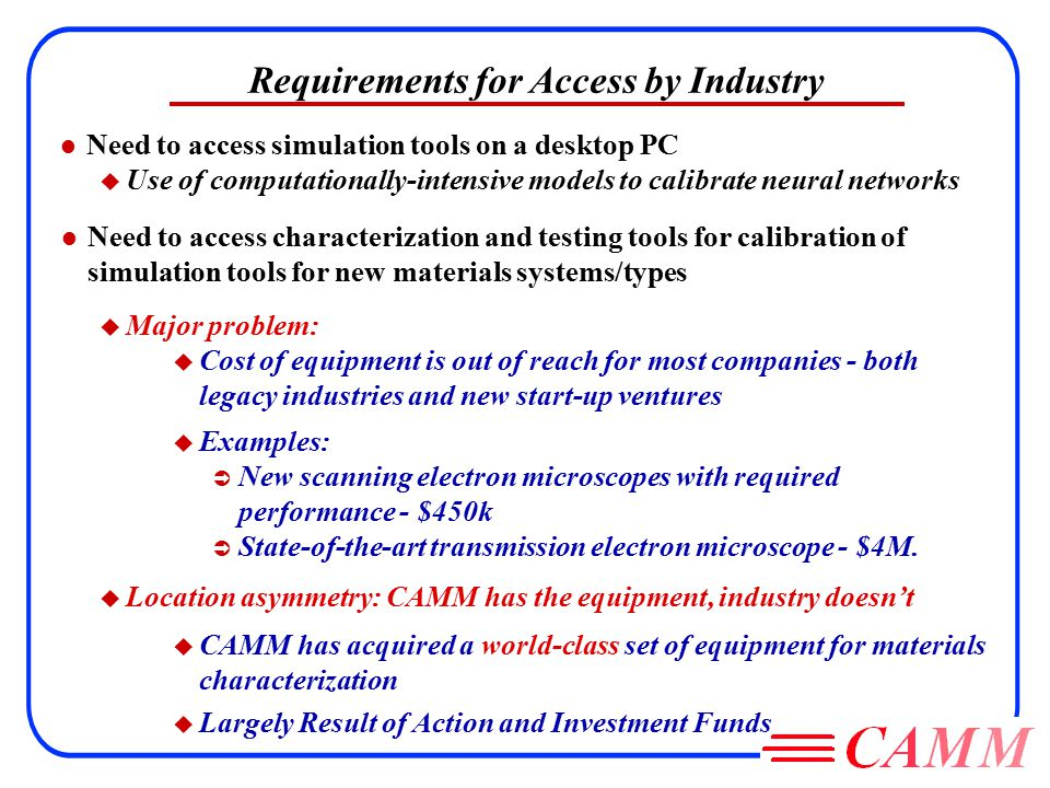 Requirements for Access by Industry l Need to access simulation tools on a desktop PC u Use of computationally-intensive models to calibrate neural networks u Examples: Ü New scanning electron microscopes with required performance - $450k Ü State-of-the-art transmission electron microscope - $4M.
