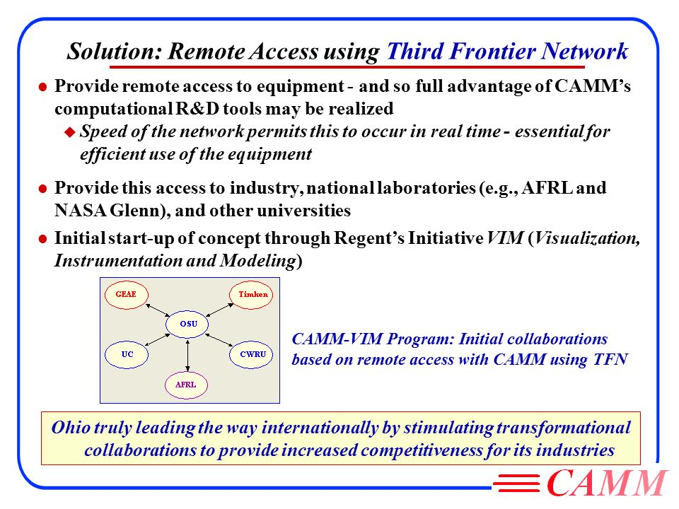Solution: Remote Access using Third Frontier Network l Provide remote access to equipment - and so full advantage of CAMM's computational R&D tools may be realized u Speed of the network permits this to occur in real time - essential for efficient use of the equipment l Provide this access to industry, national laboratories (e.g., AFRL and NASA Glenn), and other universities l Initial start-up of concept through Regent's Initiative VIM (Visualization, Instrumentation and Modeling) CAMM-VIM Program: Initial collaborations based on remote access with CAMM using TFN Ohio truly leading the way internationally by stimulating transformational collaborations to provide increased competitiveness for its industries