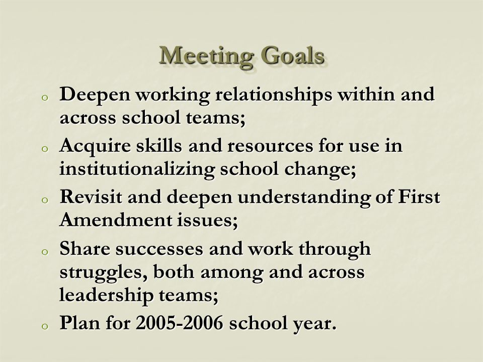 Meeting Goals o Deepen working relationships within and across school teams; o Acquire skills and resources for use in institutionalizing school change; o Revisit and deepen understanding of First Amendment issues; o Share successes and work through struggles, both among and across leadership teams; o Plan for 2005-2006 school year.