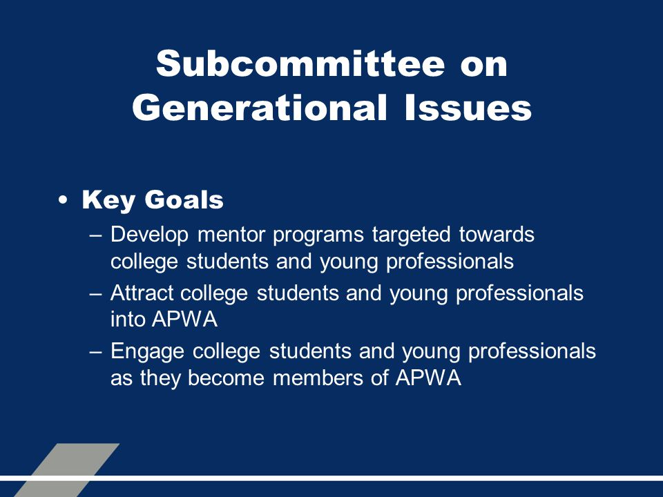 Subcommittee on Generational Issues Key Goals –Develop mentor programs targeted towards college students and young professionals –Attract college students and young professionals into APWA –Engage college students and young professionals as they become members of APWA