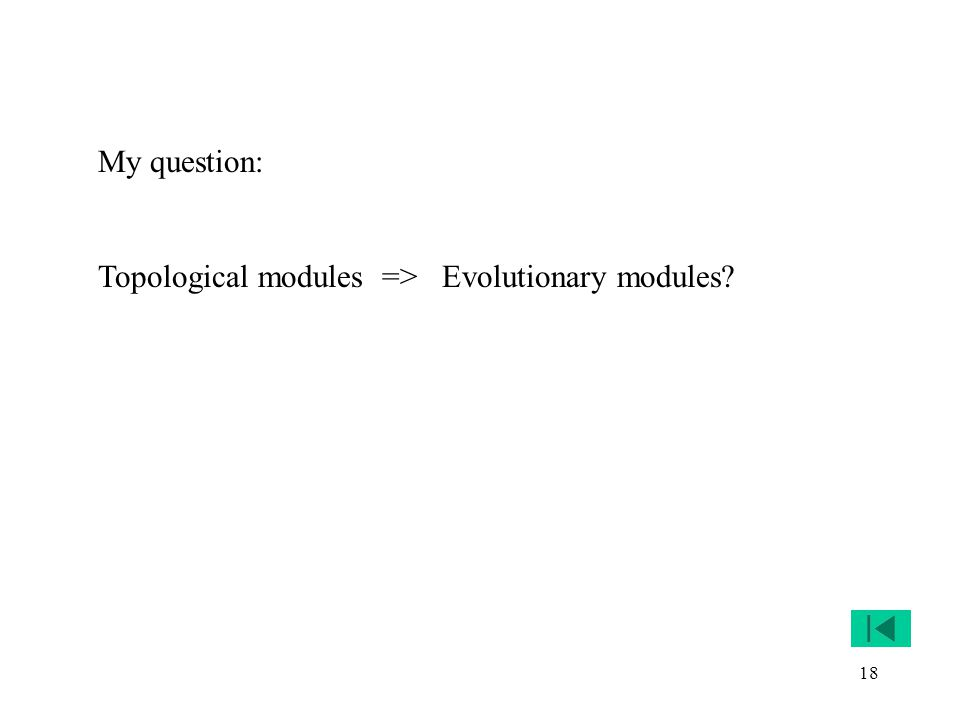 18 My question: Topological modules => Evolutionary modules?