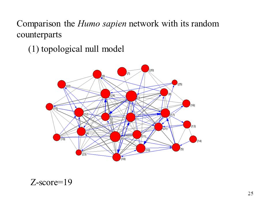 25 Comparison the Humo sapien network with its random counterparts (1) topological null model Z-score=19