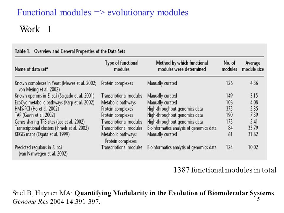 5 Functional modules => evolutionary modules Snel B, Huynen MA: Quantifying Modularity in the Evolution of Biomolecular Systems.