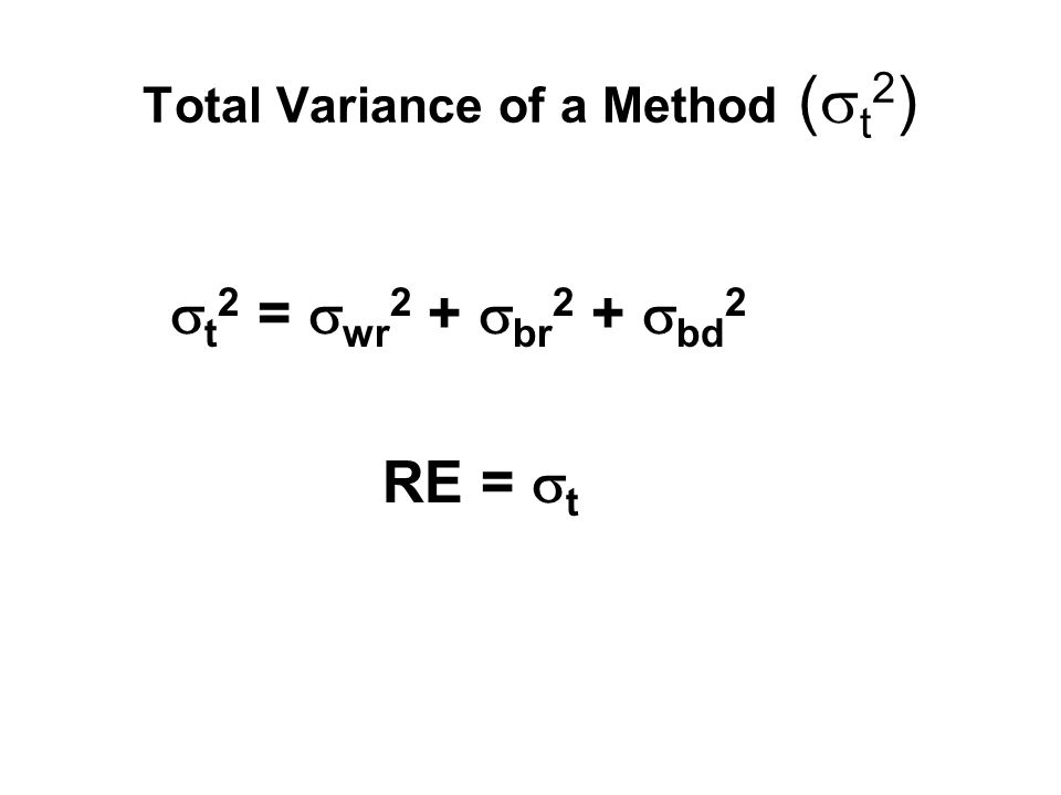 Total Variance of a Method (  t 2 )  t 2 =  wr 2 +  br 2 +  bd 2 RE =  t