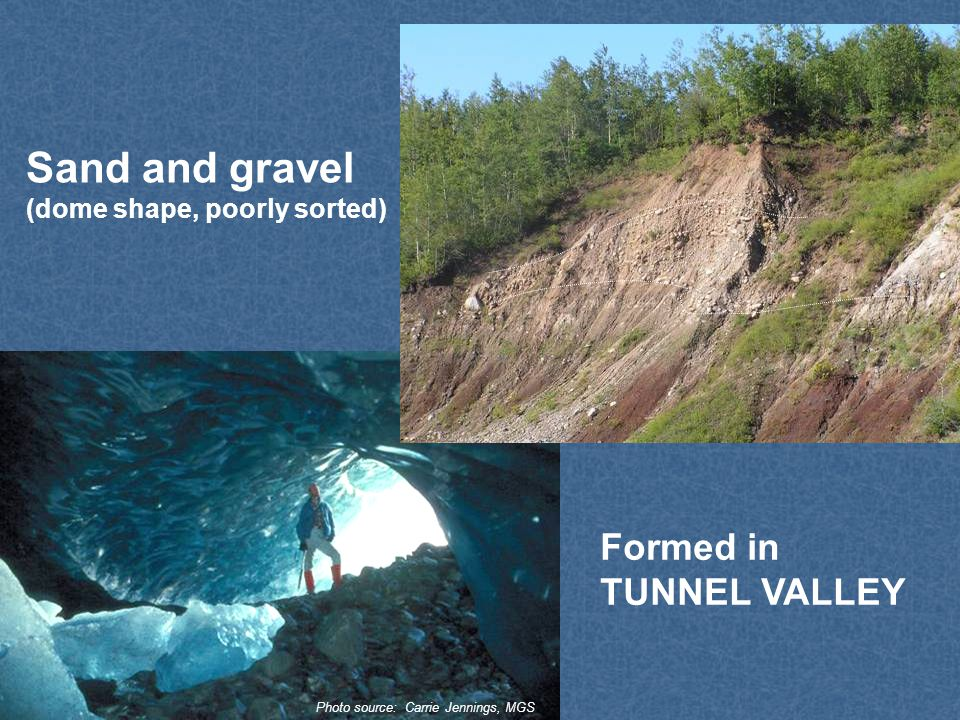 Sand and gravel (dome shape, poorly sorted) Formed in TUNNEL VALLEY Photo source: Carrie Jennings, MGS