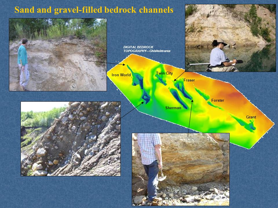Sand and gravel-filled bedrock channels Fraser Iron World Grant Twin City Forster Sherman DIGITAL BEDROCK TOPOGRAPHY—Chisholm area