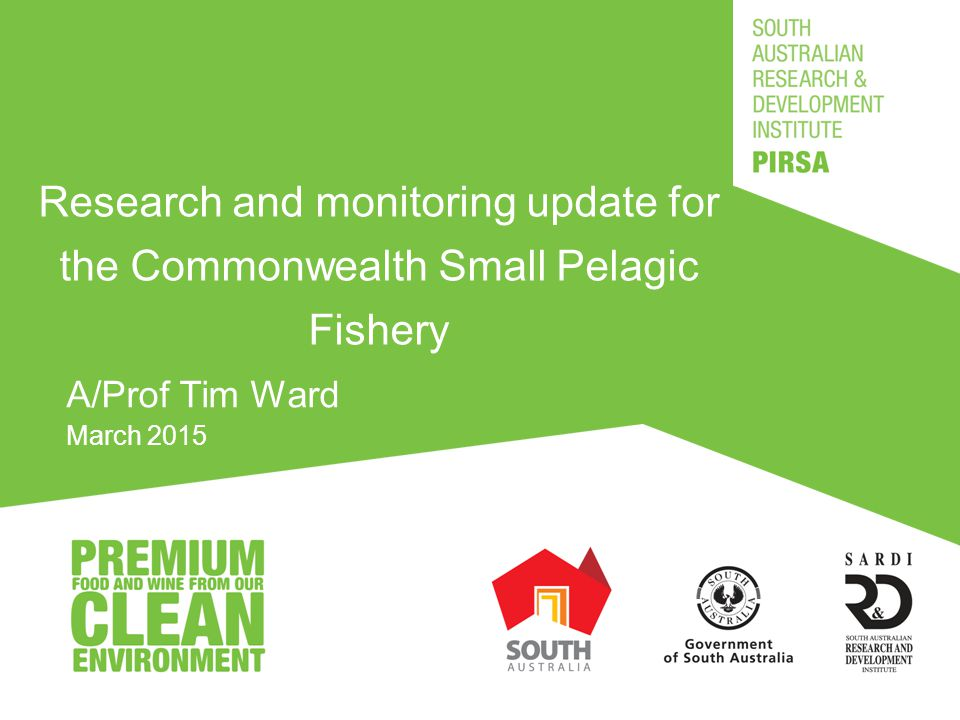 Key SPF Research and Monitoring Projects Review and update harvest strategy settings for the Commonwealth small pelagic fishery (FRDC – Dr Tony Smith) Summer spawning patterns and preliminary Daily Egg Production Method survey of Jack Mackerel and Sardine off the East Coast (FRDC) Monitoring and assessment of Small Pelagic Fishery (AFMA) Draft final report March 2015; Final report April 2015 Benchmarking Australia's small pelagic fisheries against world's best practice (FRDC) Draft final report March 2015; Final report April 2015 Improving the precision of estimates of egg production and spawning biomass obtained using the Daily Egg Production (FRDC) Draft final report September 2015; Final report due October 2015 Egg distribution, reproductive parameters and spawning biomass of Blue Mackerel, Australian Sardine and Tailor off the East Coast during late winter and early spring (FRDC) Draft final report November 2015; Final report due 30 December 2015