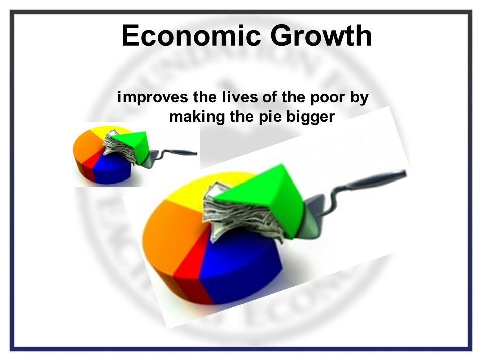 Economic Growth improves the lives of the poor by making the pie bigger