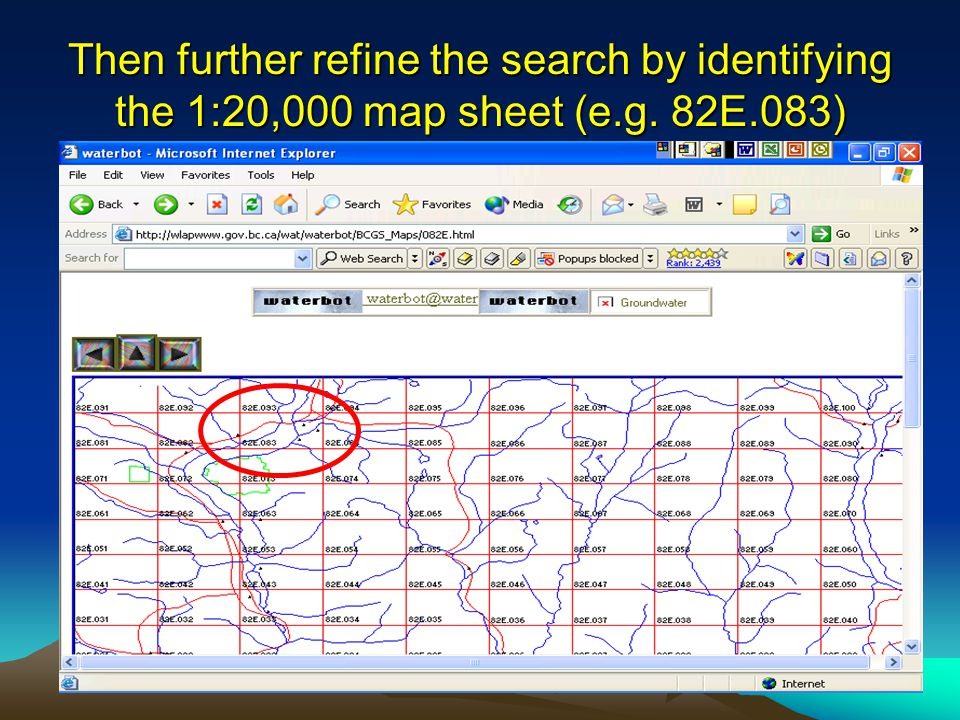 Then further refine the search by identifying the 1:20,000 map sheet (e.g. 82E.083)
