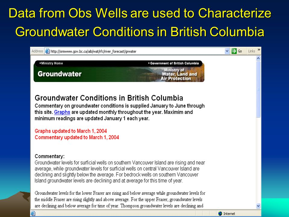Data from Obs Wells are used to Characterize Groundwater Conditions in British Columbia