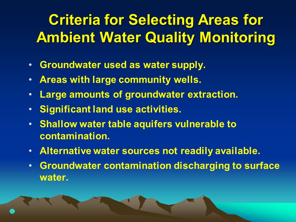 Criteria for Selecting Areas for Ambient Water Quality Monitoring Groundwater used as water supply. Areas with large community wells. Large amounts of