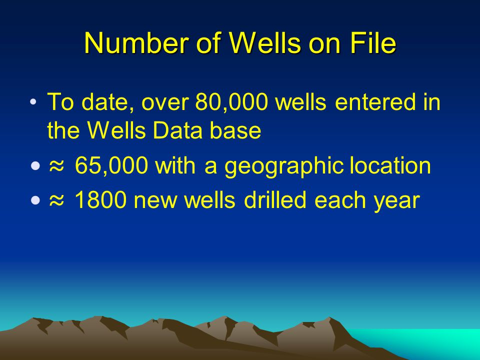 How to Access the Water Well Data Different types of word search criteria are used to access water well data –Well Tag Number, –BCGS Number, –Geo Reference (e.g.