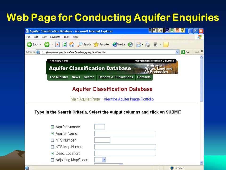 Web Page for Conducting Aquifer Enquiries