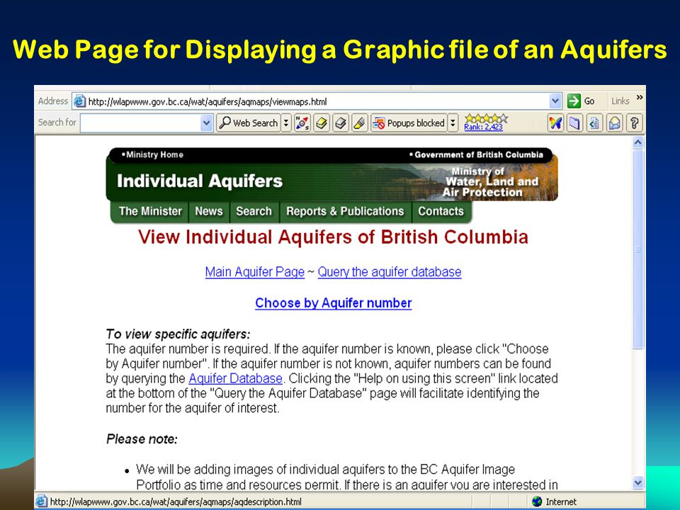 Web Page for Displaying a Graphic file of an Aquifers